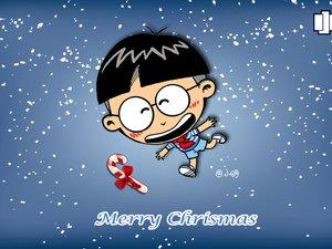安卓动漫 小明壁纸 小明 圣诞 下雪 可爱手机壁纸