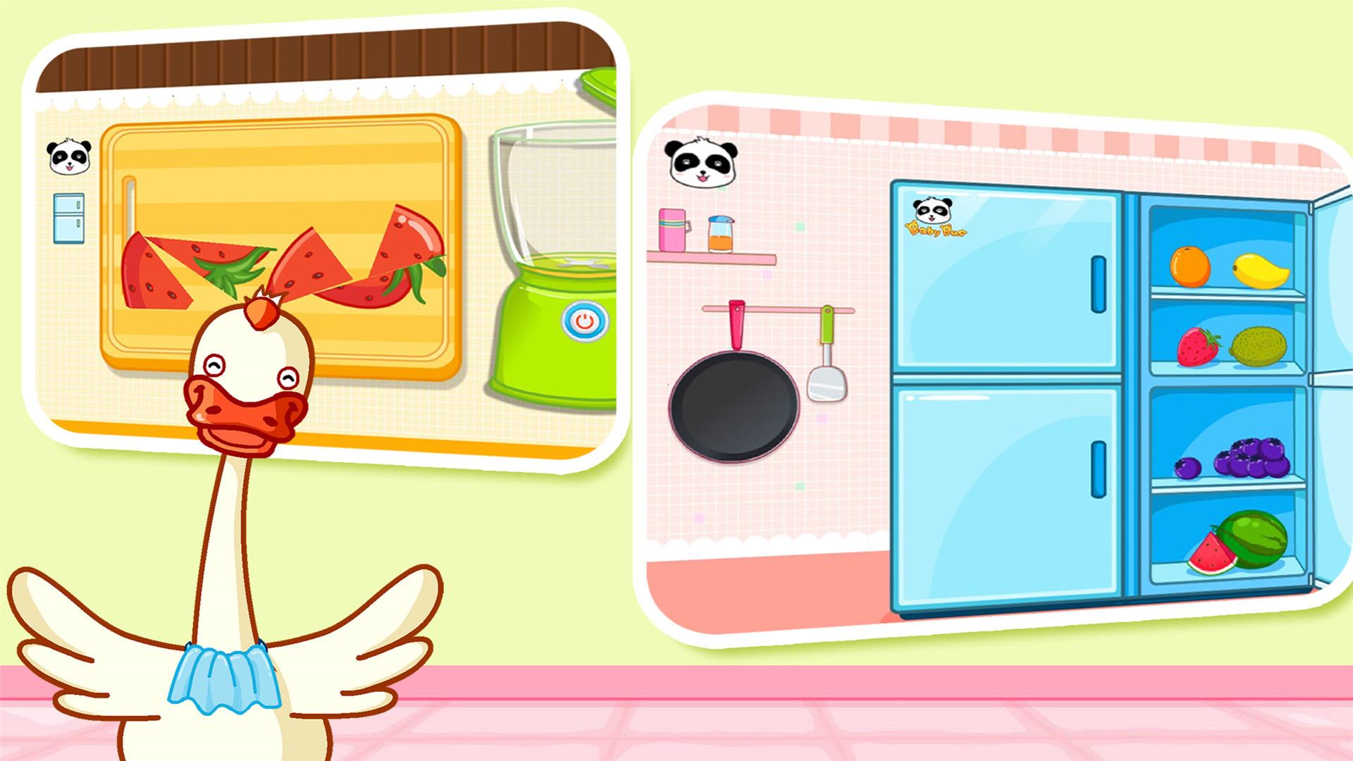 【宝宝小厨房】帮宝宝实现变身厨房达人的梦想! 随意切割你喜欢的食材,炒一碗喷香的菜肴,或者榨一杯你喜欢的果汁,打造专属的儿童食谱吧!~ 逼真的画面和音效,带给宝宝新奇有趣的体验,开拓宝宝创造性思维! 宝宝巴士以孩子的兴趣启蒙为出发点,从健康、语言、社会、科学、艺术五大领域关注幼儿成长,吸取蒙氏教育精髓,根据幼儿不同年龄段左右脑发育、敏感期特点和学习重点来设计产品,打造年龄+能力的多元化产品体系。让孩子在游戏中独立思考,自由学习,享受探索世界的乐趣。 _________ 设计理念: 宝宝巴士(BabyBu