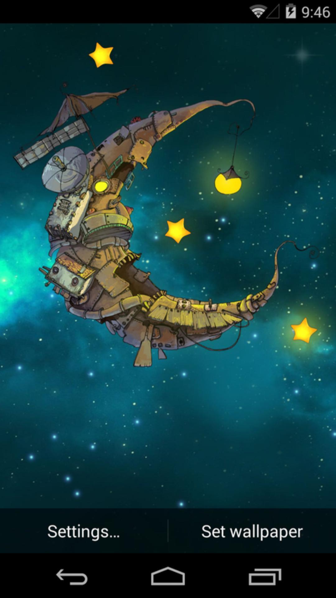 星空手绘图片小船